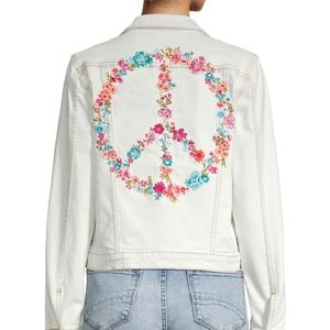 Driftwood Floral Peace Sign Embroidered Jacket